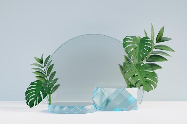 Cosmetische displayproductstandaard, twee glazen diamantcilinderpodium met cirkelglazen wand en natuurblad op lichte achtergrond. 3d-rendering illustratie