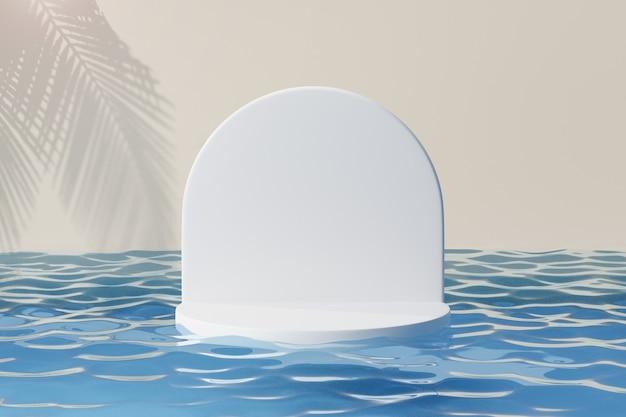 Cosmetische displayproductstandaard, wit rond cilinderpodium met boogmuur op blauwe waterreflectie en palmbladschaduwachtergrond. 3d-rendering illustratie