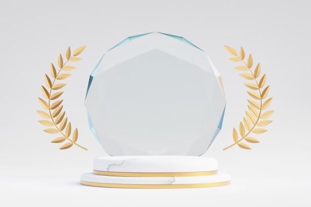 Cosmetische displayproductstandaard, witgouden marmeren podium met diamanten glazen wand en gouden olijfblad op lichte achtergrond. 3d-rendering illustratie