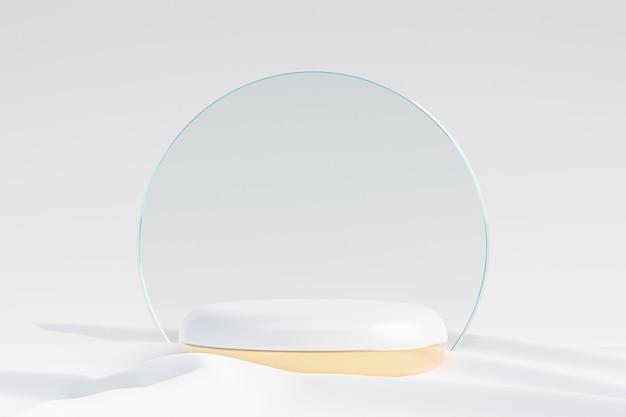 Cosmetische displayproductstandaard, witgouden ronde cilinderpodium met cirkelmatte glazen wand en stoffen achtergrond. 3d-rendering illustratie
