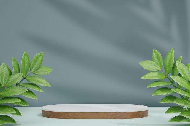 Cosmetische displayproductstandaard, witte houten lange ronde cilinderpodiumbalk met blad- en palmbladschaduwachtergrond. 3d-rendering illustratie