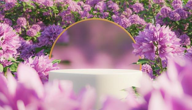 Cosmetische displaystandaard met bloemen