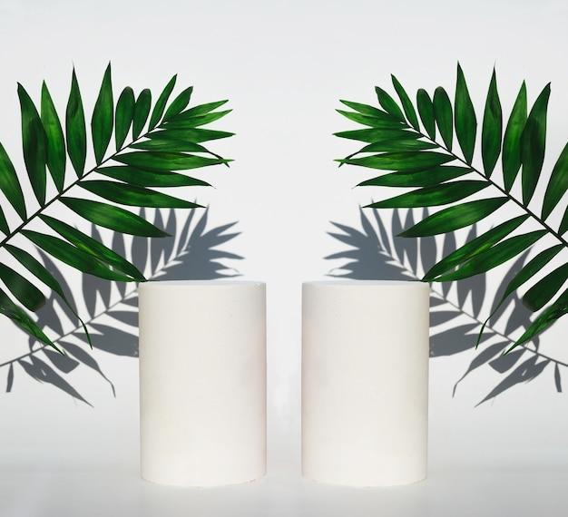 Cosmetische flessenpodia en groene bladeren met schaduwen op witte achtergrond