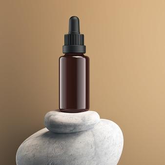 Cosmetische pipetfles serumdruppelaar op witte stenen mockuppakket