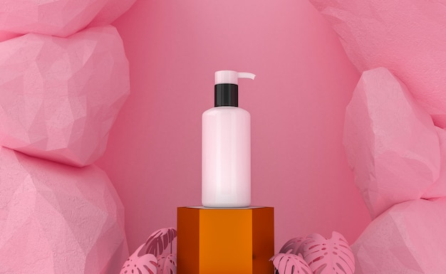 Cosmetische productpresentatie. blanco verpakking. 3d-weergave
