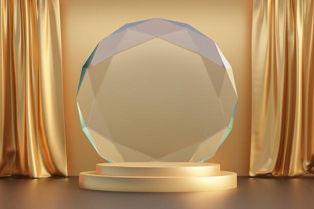 Cosmetische productstandaard, gouden cilinderpodium met cirkeldiamantmuur en gouden gordijn. 3d-rendering illustratie