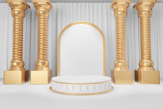 Cosmetische productstandaard, goudwit rond cilinderpodium in romeinse stijl met gouden griekse kolommen op witte gordijnachtergrond. 3d-rendering illustratie