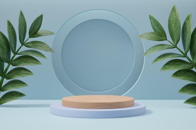Cosmetische productstandaard, houten cilinder en cirkelmuur met groene bladachtergrond. 3d-rendering illustratie