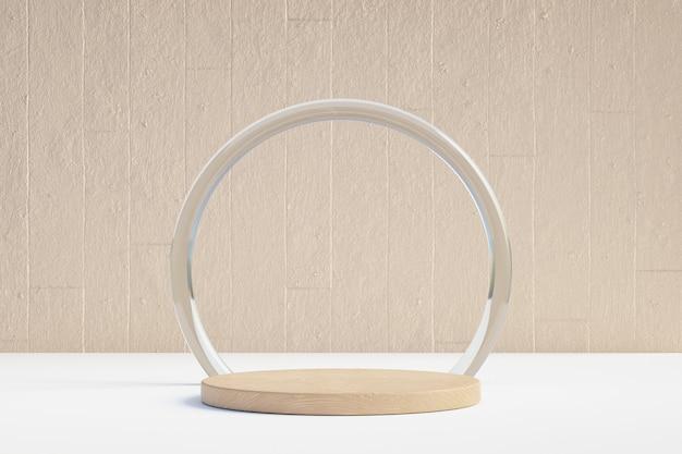 Cosmetische productstandaard, houten ronde cilinderpodium met cirkelring mat glas en betonnen achtergrond. 3d-rendering illustratie