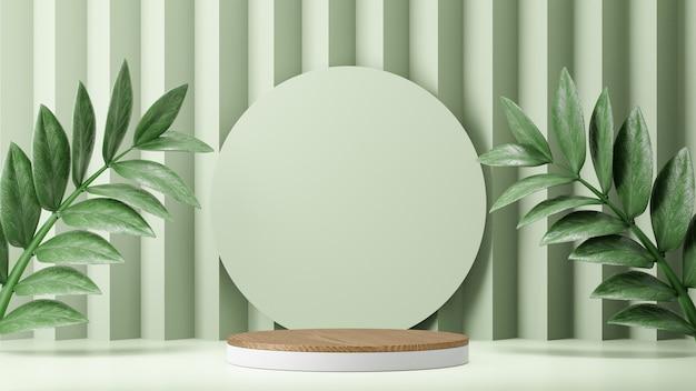 Cosmetische productstandaard, houten witte cilinder en pastelgroene ronde muur met bladachtergrond. 3d-rendering illustratie