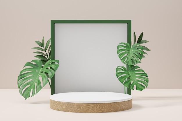 Cosmetische productstandaard, wit hout rond cilinderpodium en groen frame met groene bladachtergrond. 3d-rendering illustratie