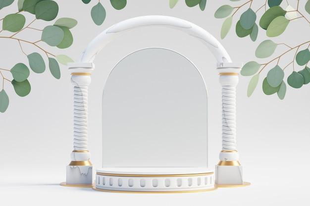 Cosmetische productstandaard, wit marmeren gouden podium met glazen wandkolom in griekse stijl en groene bladplant op lichte achtergrond. 3d-rendering illustratie