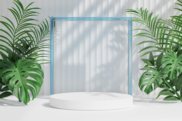 Cosmetische productstandaard, wit podium met glazen wand en natuurpalmblad op lichte achtergrond. 3d-rendering illustratie
