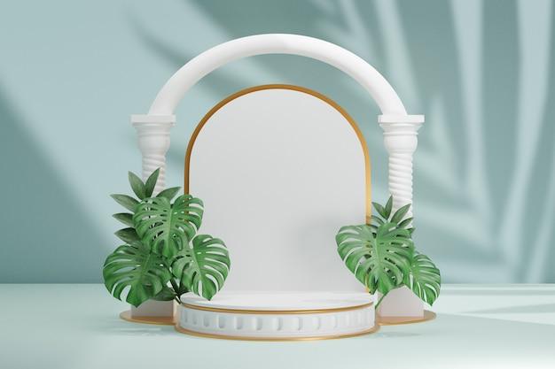 Cosmetische productstandaard, wit romeins rond cilinderpodium en witte boogkolom met groene bladachtergrond. 3d-rendering illustratie