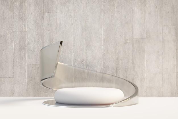 Cosmetische productstandaard, wit rond cilinderpodium met gebogen matte glazen wand en betonnen achtergrond. 3d-rendering illustratie