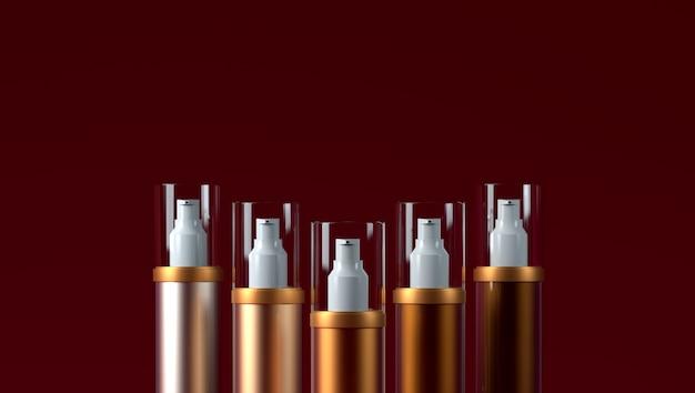 Cosmetische verpakking consealer op een rood concealer kleurenpalet