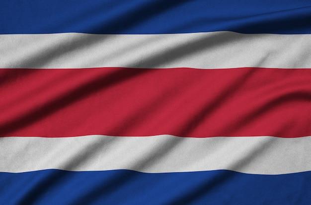 Costa rica vlag met veel plooien.