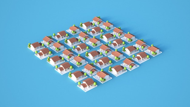 Cottage village 3d illustratie rendering
