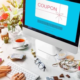 Coupon cadeaubon shopping concept