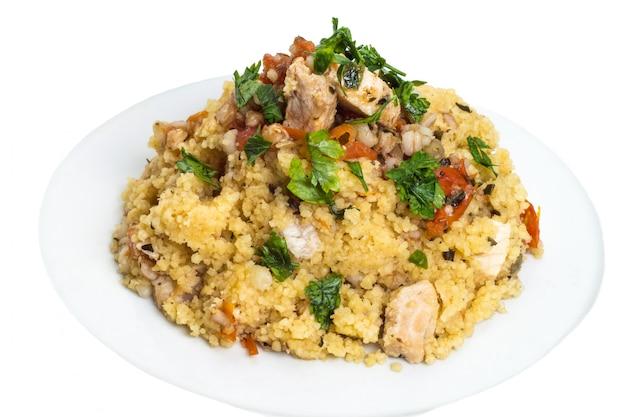 Couscous graanschotel met zwaardvis