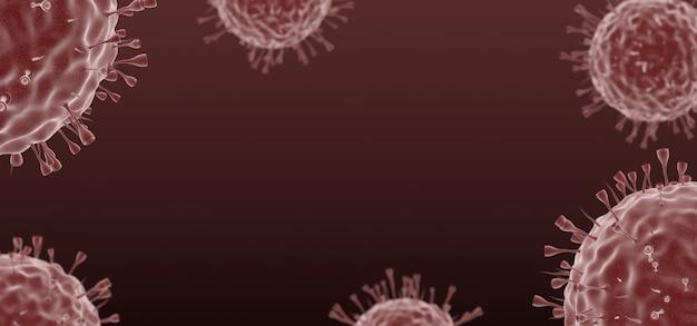 Covid-19, coronavirusinfectie onder een microscoop, pandemie, verspreiding van het ziektevirus.