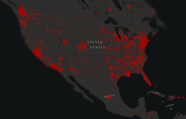 Covid-19, kaart van bevestigde gevallen in de verenigde staten wereldwijd. update van de situatie van de coronavirusziekte in de verenigde staten. amerikaanse kaarten laten zien waar het coronavirus zich heeft verspreid. amerika coronavirus infectie kaart