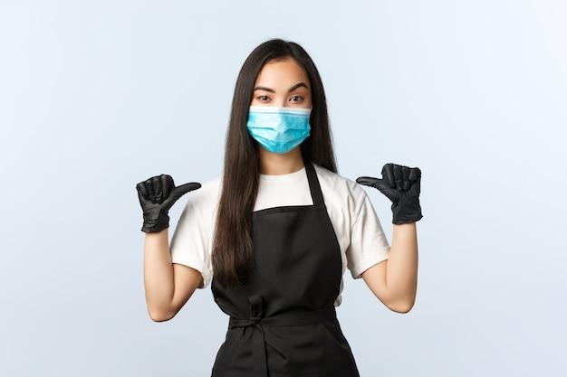 Covid-19 pandemie, sociaal distantiëren, zakelijk en het voorkomen van virusconcept. Premium Foto