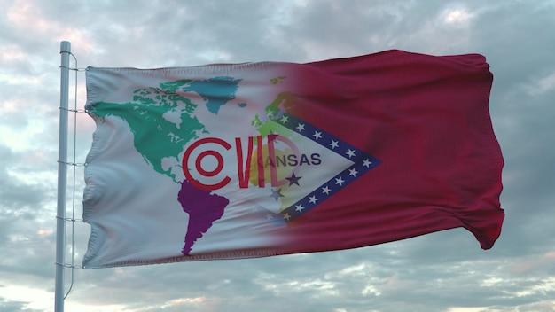 Covid-19-teken op de nationale vlag van arkansas. coronavirus-concept. 3d-rendering.