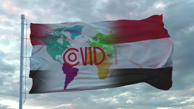 Covid-19 teken op de nationale vlag van egypte. coronavirus-concept. 3d-rendering