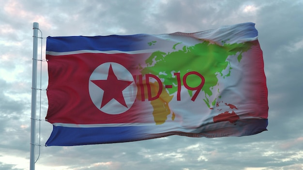 Covid-19-teken op de nationale vlag van noord-korea. coronavirus-concept. 3d-rendering