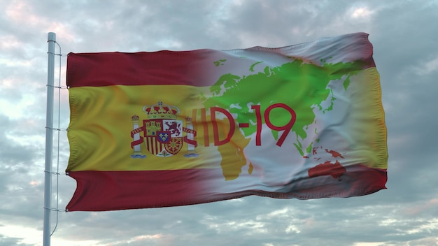 Covid-19 teken op de nationale vlag van spanje. coronavirus-concept. 3d-rendering.