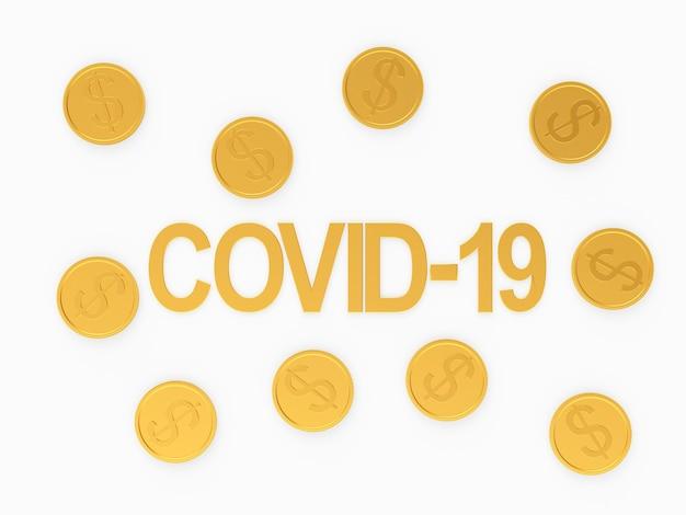 Covid-19 tekst en gouden dollarmunten
