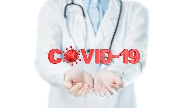 Covid-19-tekst op doktershand om de verspreiding van het coronavirus-concept te stoppen.