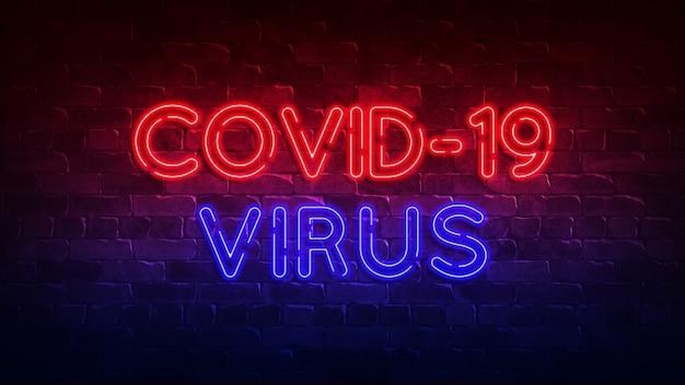 Covid-19 virus neonreclame. rode en blauwe gloed. neon tekst. conceptuele achtergrond. 3d-afbeelding.