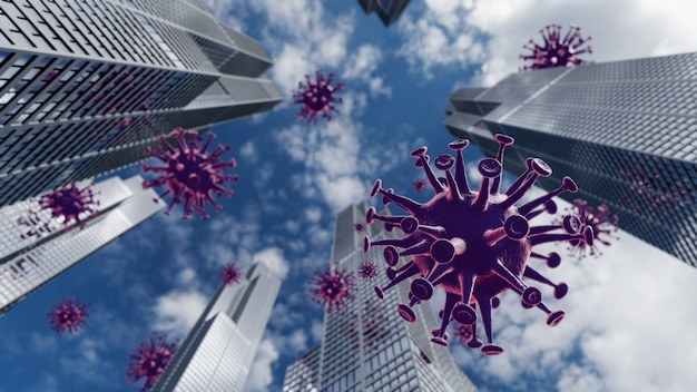 Covid 19-virus op de stad. virus drijven in de lucht met een hoogbouw. 3d-weergave.