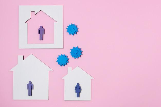 Covid-concept met huizen en mensen