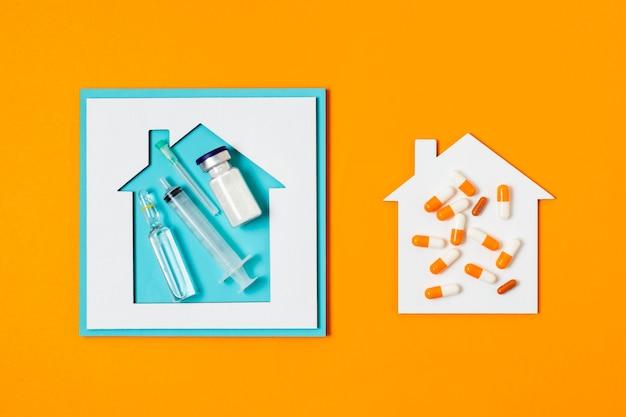 Covid-concept met oranje achtergrond
