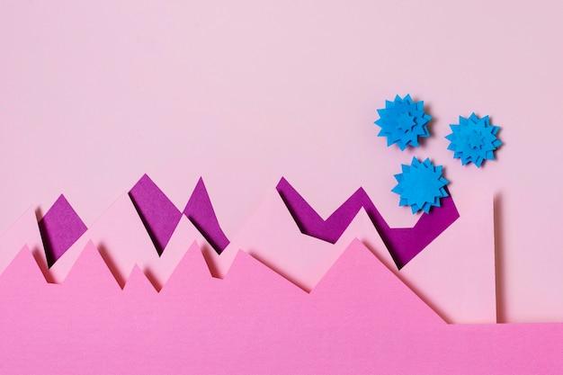 Covid-concept met papieren vormen