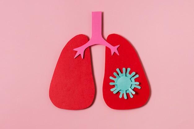 Covid-concept met rode longen plat gelegd