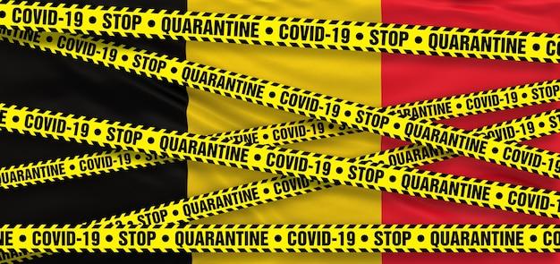 Covid19 coronavirus quarantainegebied in belgië. belgische vlag achtergrond. 3d illustratie