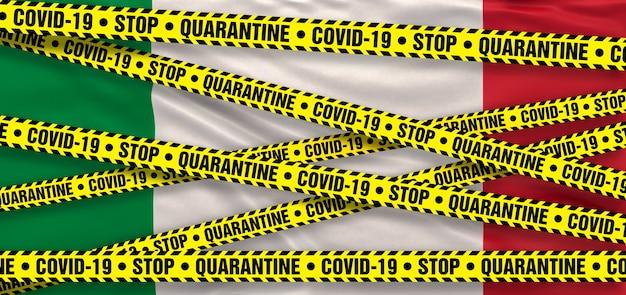 Covid19 coronavirus quarantainegebied in italië. italiaanse vlag achtergrond. 3d illustratie