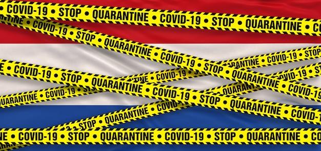 Covid19 coronavirus quarantainegebied in nederland. nederlandse vlag achtergrond. 3d illustratie