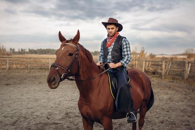 Cowboy die een paard in woestijnvallei berijdt