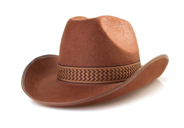 Cowboyhoed op witte achtergrond wordt geïsoleerd die