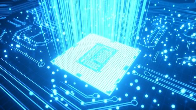 Cpu-technische achtergrond. datatransmissie, futuristische industrie.