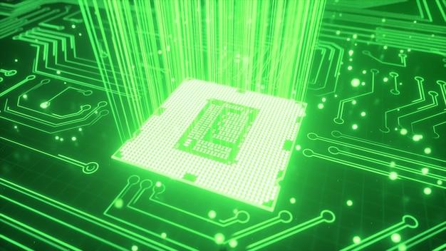Cpu-technische achtergrond. datatransmissie, futuristische industrie. Premium Foto