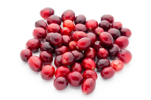Cranberries bovenaanzicht. rode, rijpe amerikaanse veenbessen macro weergave.