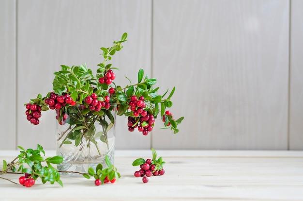 Cranberry tak in glazen pot