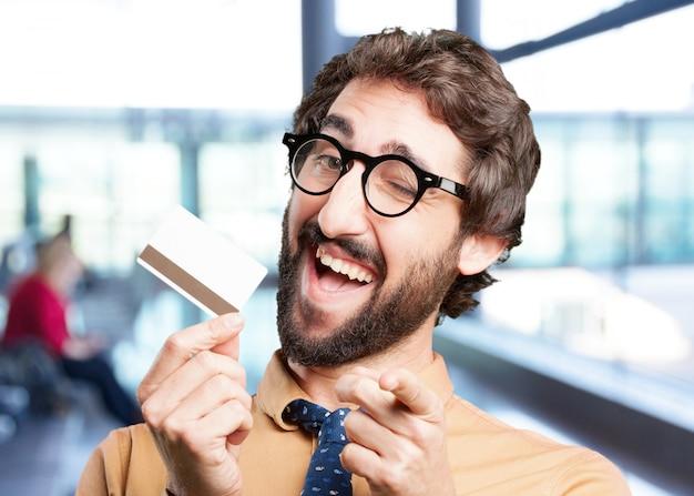 Crazy man met credit card.funny expressie