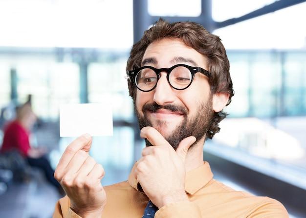 Crazy man met de naam card.funny expressie